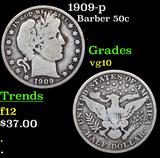 1909-p Barber Half Dollars 50c Grades vg+