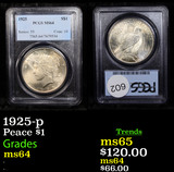 PCGS 1925-p Peace Dollar $1 Graded ms64 By PCGS