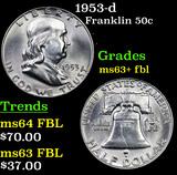 1953-d Franklin Half Dollar 50c Grades Select Unc+ FBL