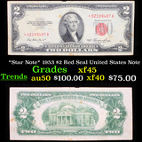 *Star Note* 1953 $2 Red Seal United States Note Grades xf+