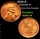1936-d Lincoln Cent 1c Grades GEM Unc RD