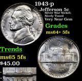 1943-p Jefferson Nickel 5c Grades Choice Unc+ 5fs