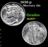 1936-p Mercury Dime 10c Grades Select+ Unc