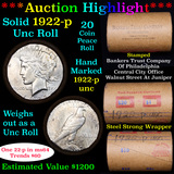 ***Auction Highlight*** 1922-p Uncirculated Peace Dollar Shotgun Roll (fc)