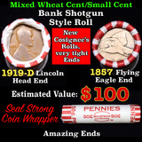 Mixed small cents 1c orig shotgun roll, 1857 Flying Eagle cent, 1919-d Lincoln Cent other end, Seal