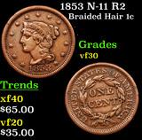 1853 N-11 R2 Braided Hair Large Cent 1c Grades vf++