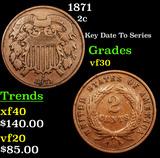 1871 Two Cent Piece 2c Grades vf++