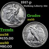1917-p Walking Liberty Half Dollar 50c Grades Choice AU