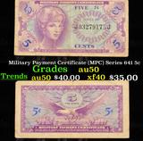 Military Payment Certificate (MPC) Series 641 5c Grades AU, Almost Unc
