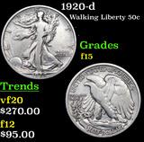 1920-d Walking Liberty Half Dollar 50c Grades f+
