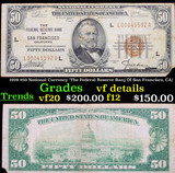 1929 $50 National Currency 'The Federal Reserve Banj Of San Francisco, CA) Grades vf details