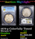 ***Auction Highlight*** 1879-p Colorfully Toned Morgan Dollar $1 Graded ms64 By PCGS (fc)