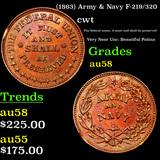 (1863) Army & Navy F-219/320 Civil War Token 1c Grades Choice AU/BU Slider