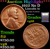 ***Auction Highlight*** 1922 No D Lincoln Cent 1c Graded vg+ By USCG (fc)