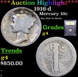 ***Auction Highlight*** 1916-d Mercury Dime 10c Graded g, good By USCG (fc)