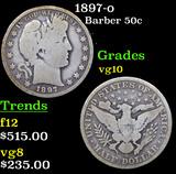 1897-o Barber Half Dollars 50c Grades vg+