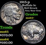 1915-p Buffalo Nickel 5c Grades Choice+ Unc