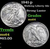 1941-p Walking Liberty Half Dollar 50c Grades Choice Unc