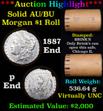 ***Auction Highlight*** AU/BU Slider Brinks Shotgun Morgan $1 Roll 1887 & P Ends Virtually UNC (fc)