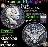 Proof ***Auction Highlight*** 1899 Barber Quarter 25c Graded GEM Proof Cameo By USCG (fc)