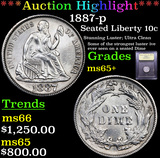 ***Auction Highlight*** 1887-p Seated Liberty Dime 10c Graded GEM+ Unc By USCG (fc)
