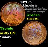 1920-p Lincoln Cent 1c Grades GEM Unc BN
