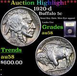 ***Auction Highlight*** 1920-d Buffalo Nickel 5c Graded Choice AU/BU Slider By USCG (fc)