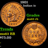 1901 Indian Cent 1c Grades Select Unc RB