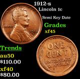 1912-s Lincoln Cent 1c Grades xf+