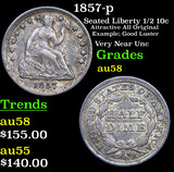 1857-p Seated Liberty Half Dime 1/2 10c Grades Choice AU/BU Slider