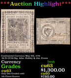 ***Auction Highlight*** Continental Currency May 9th, 1776 $8 Fr-CC38 Sig. Adm. Hubley & Jon. Evans