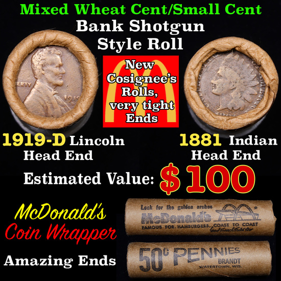 Mixed small cents 1c orig shotgun roll, 1919-d Wheat Cent, 1881 Indian Cent other end, McDonalds Wra