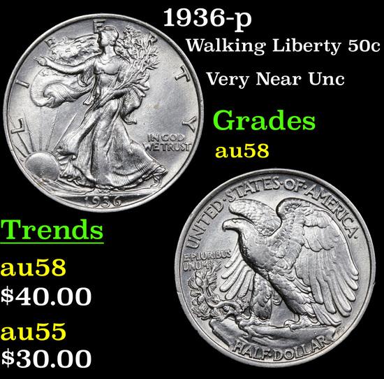 1936-p Walking Liberty Half Dollar 50c Grades Choice AU/BU Slider