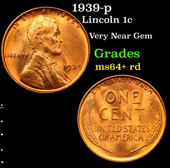 1939-p Lincoln Cent 1c Grades Choice+ Unc RD
