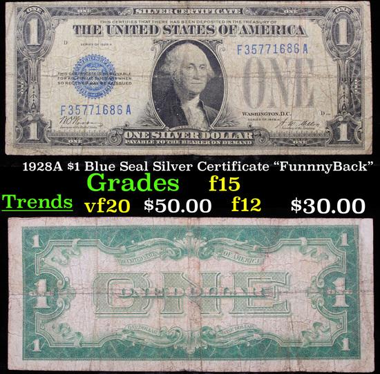 """1928A $1 Blue Seal Silver Certificate """"FunnnyBack"""" Grades f+"""