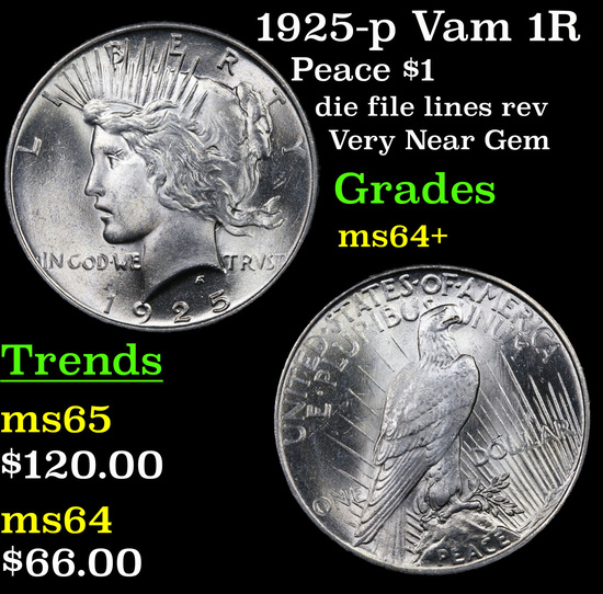 1925-p Vam 1R Peace Dollar $1 Grades Choice+ Unc