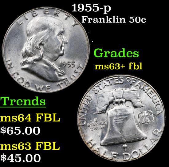 1955-p Franklin Half Dollar 50c Grades Select Unc+ FBL