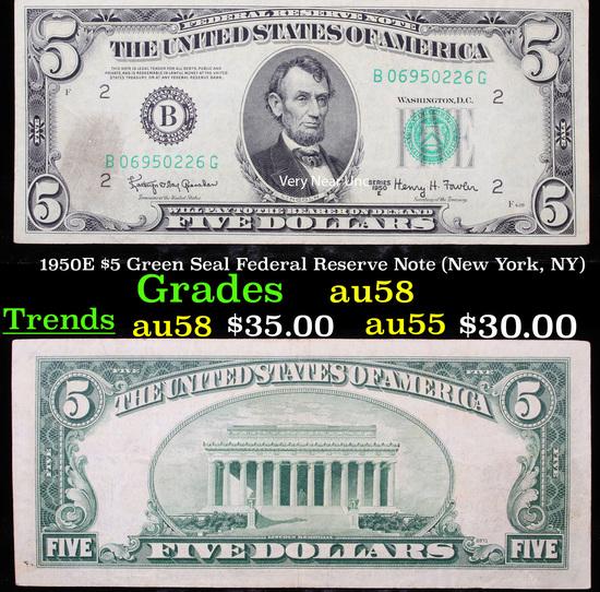 1950E $5 Green Seal Federal Reserve Note (New York, NY) Grades Choice AU/BU Slider