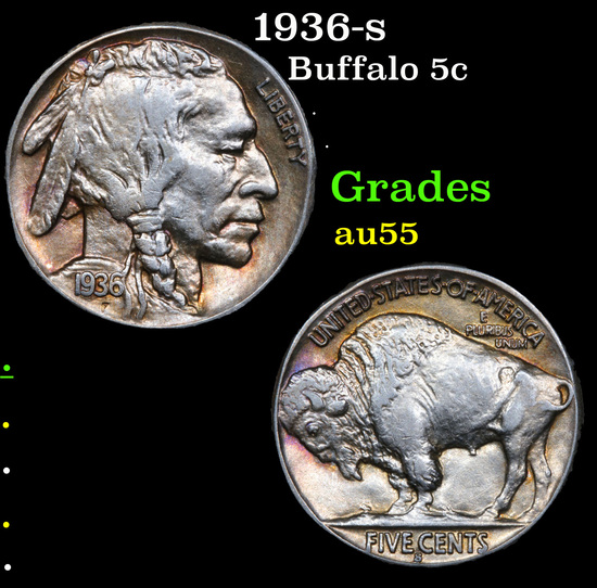 1936-s Buffalo Nickel 5c Grades Choice AU