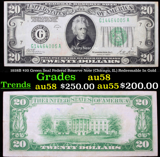 1928B $20 Green Seal Federal Reserve Note (Chicago, IL) Redeemable In Gold Grades Choice AU/BU Slide