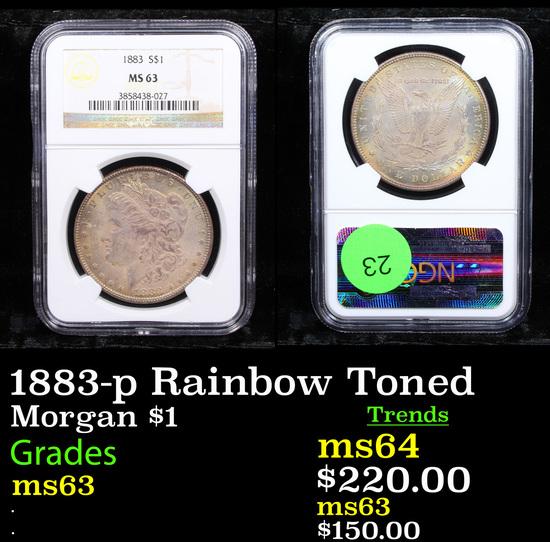 NGC 1883-p Rainbow Toned Morgan Dollar $1 Graded ms63 By NGC