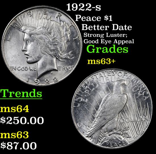 1922-s Peace Dollar $1 Grades Select+ Unc