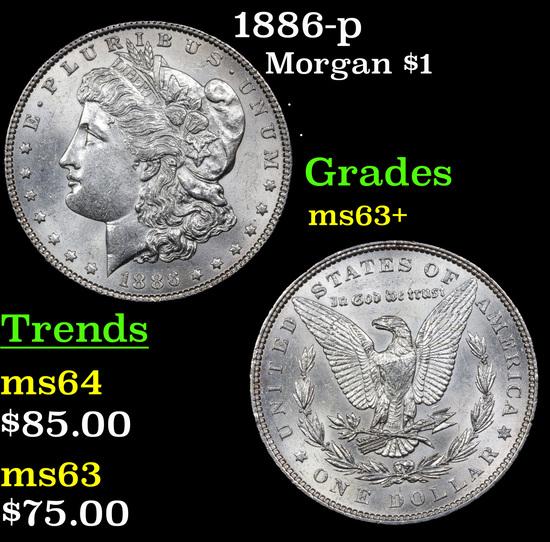 1886-p Morgan Dollar $1 Grades Select+ Unc