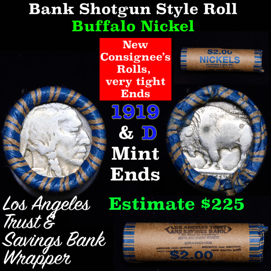 Buffalo Nickel Shotgun Roll in Old Bank Style 'Los Angeles Trust And Savins Bank'  Wrapper 1919 & d
