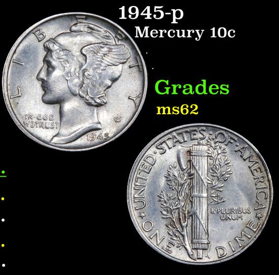 1945-p Mercury Dime 10c Grades Select Unc
