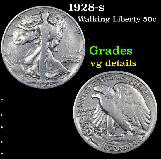 1928-s Walking Liberty Half Dollar 50c Grades vg details