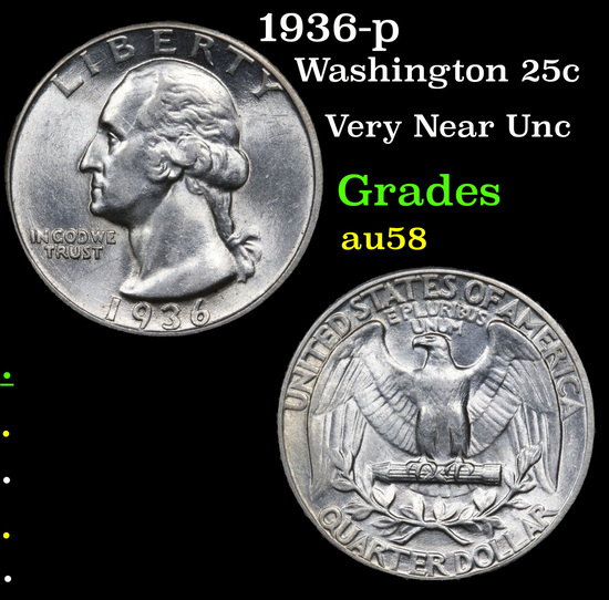 1936-p Washington Quarter 25c Grades Choice AU/BU Slider