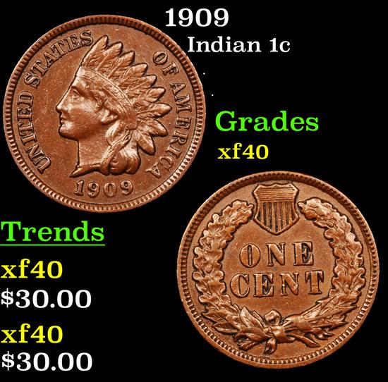 1909 Indian Cent 1c Grades xf