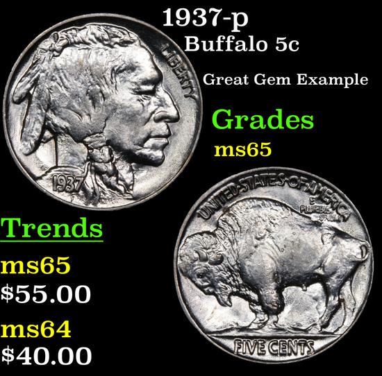 1937-p Buffalo Nickel 5c Grades GEM Unc