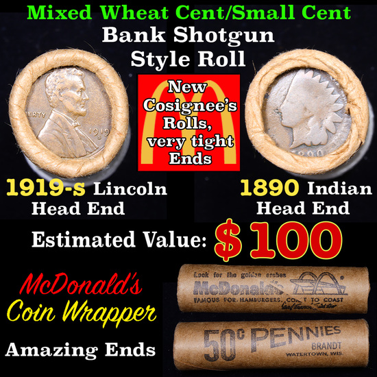 Mixed small cents 1c orig shotgun roll, 1919-s Wheat Cent, 1890 Indian Cent other end, McDonalds Wra